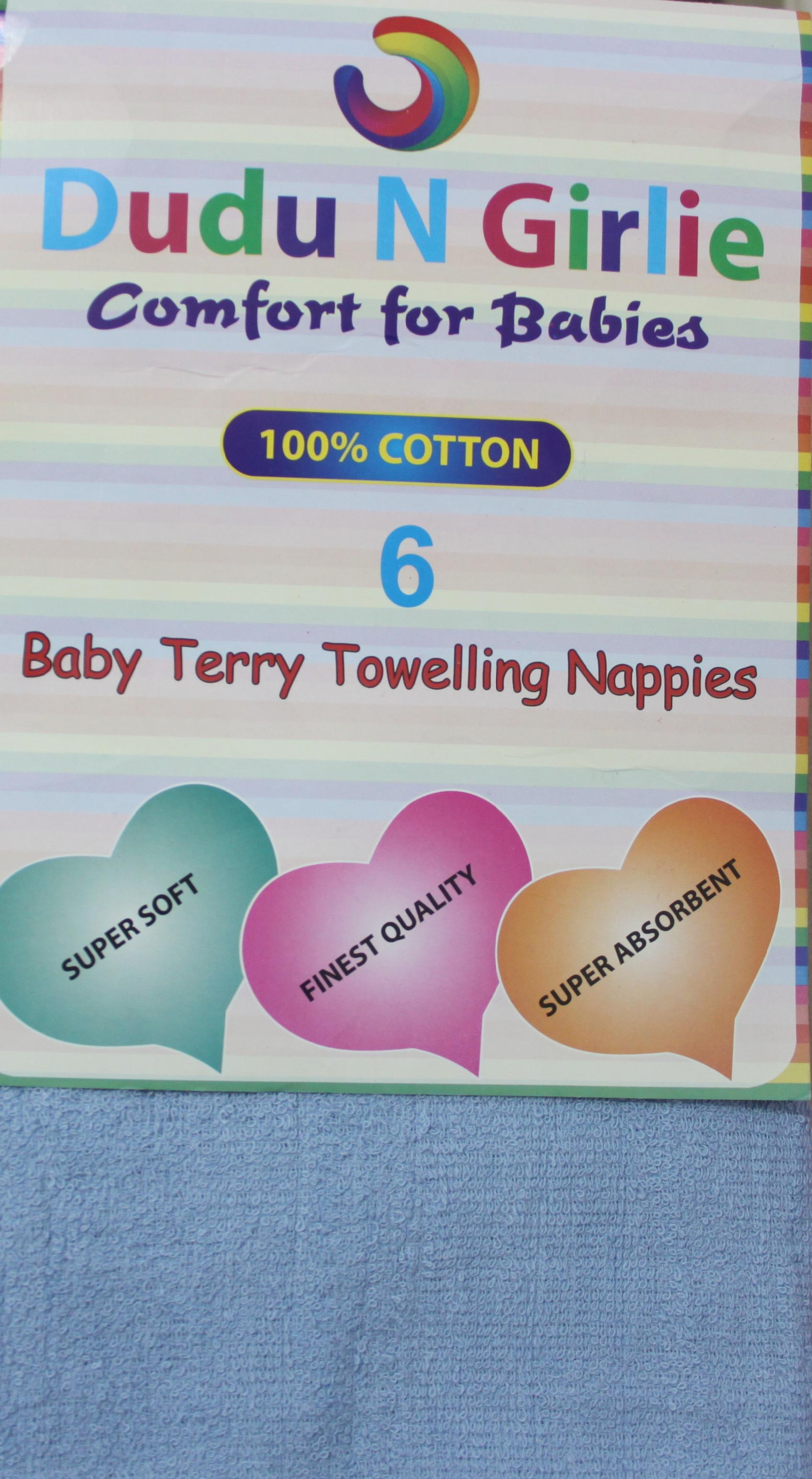 Dudungirlie 174 100 Cotton Terry Towelling Nappies